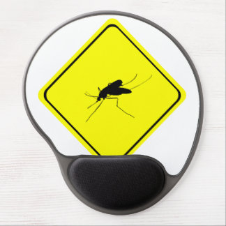 Black Mosquito Silhouette Yellow Crossing Sign Gel Mouse Pad