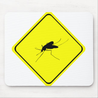 Black Mosquito Silhouette Yellow Crossing Sign Mouse Pad