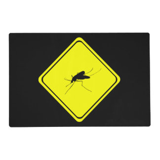 Black Mosquito Silhouette Yellow Crossing Sign Laminated Placemat