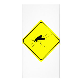 Black Mosquito Silhouette Yellow Crossing Sign Photo Card