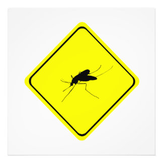Black Mosquito Silhouette Yellow Crossing Sign Photo