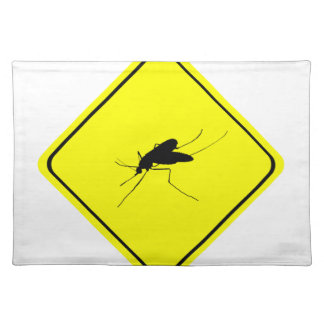 Black Mosquito Silhouette Yellow Crossing Sign Placemat