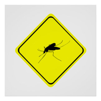 Black Mosquito Silhouette Yellow Crossing Sign Posters