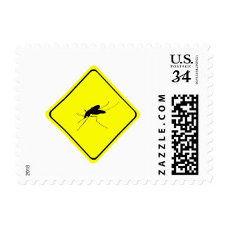Black Mosquito Silhouette Yellow Crossing Sign Stamp