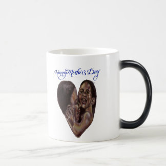 Black mother and child heart with brush lettering magic mug