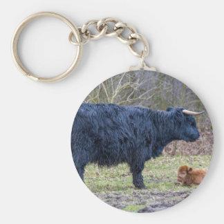 Black mother scottish highlander cow with calf keychain