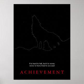 Black Motivational Howling Wolf Art Poster Print