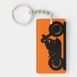 Black Motorcycle Single-Sided Rectangular Acrylic Keychain