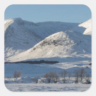 Black Mount in winter Square Stickers