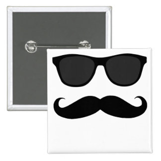 Black Moustache and Sunglasses Humour Gift Button
