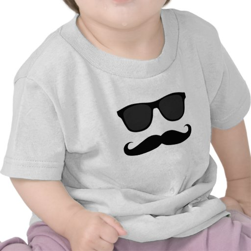 Black Moustache and Sunglasses Humour Gift Tshirt