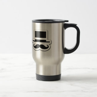 Black Moustache with Cylinder Hat Travel Mug
