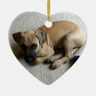 Black-mouth cur puppy with blue toy Double-Sided heart ceramic christmas ornament