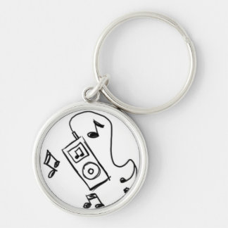 Black MP3 Player Doodle Keychain