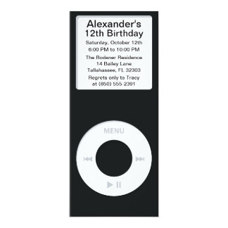Black MP3 Player iParty Birthday Party Card
