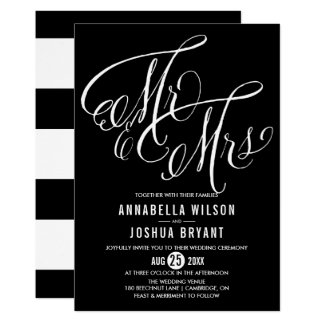Black Mr. & Mrs. Elegant Script Wedding II Invitation