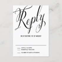 Black Mr. & Mrs. Elegant Script Wedding RSVP