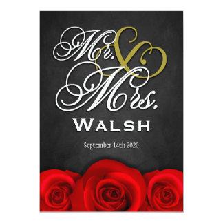 "Black Mr & Mrs Red Rose Wedding Invitations 5"" X 7"" Invitation Card"