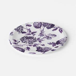 Black Mulberry Purple Floral Toile No.2 Paper Plate