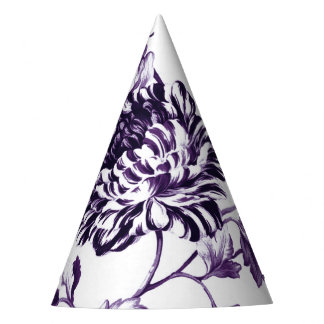 Black Mulberry Purple Floral Toile No.3 Party Hat