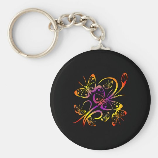 Black Multi Color Multi Butterfly Keychain