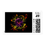 Black Multi Color Multi Butterfly Stamps