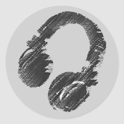 black music deejay headphone classic round sticker