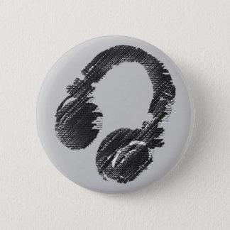 black music deejay headphone pinback button