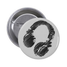 black music deejay headphone pinback button at Zazzle