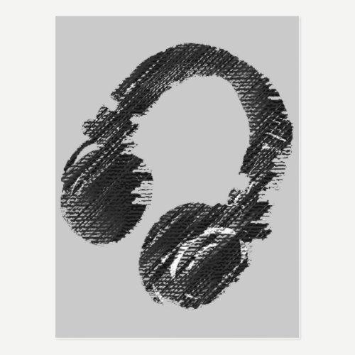black music deejay headphone postcard
