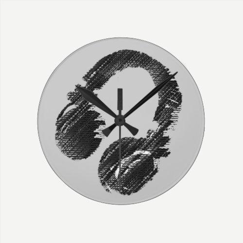 black music deejay headphone round clock