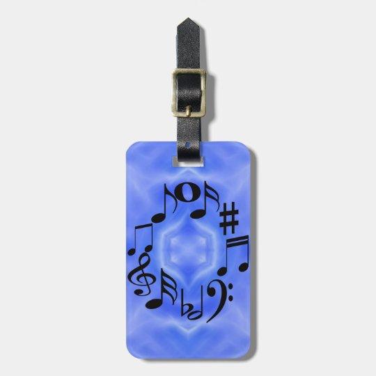 Black Music Note Keys Luggage Tag