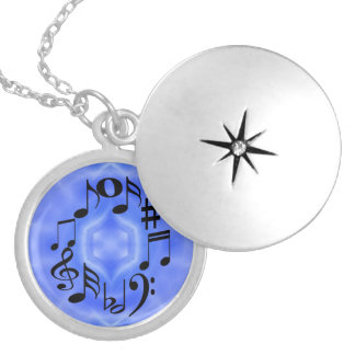Black Music Note Keys Silver Plated Necklace