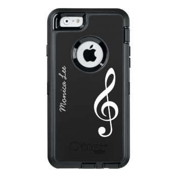 Black Music Note Personalized Otterbox Defender Iphone Case by mixedworld at Zazzle