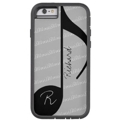 black music note with custom name tough xtreme iPhone 6 case