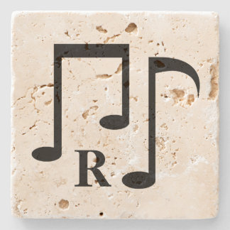 Black music notes and personalized monogram stone beverage coaster