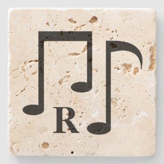 Black music notes and personalized monogram stone coaster