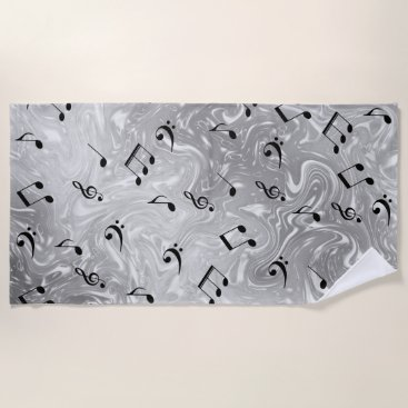 Beach Themed black music notes in silver beach towel