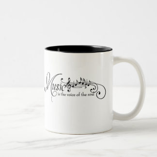 Black Music Notes Staff Calligraphy Two-Tone Coffee Mug