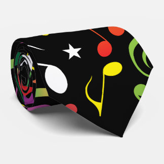 Black Music Notes Tie