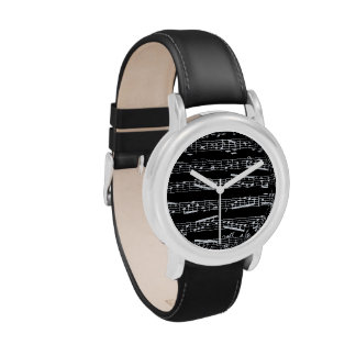 Black music notes watches