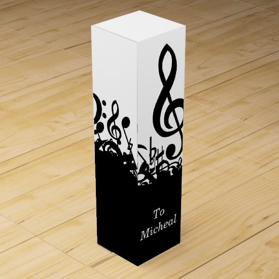 Black Music Notes Wine Box with Custom Name