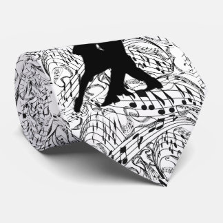 BLACK MUSIC NOTES WITH DANCING COUPLE-TIE TIE