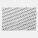 black musical-note kitchen towel