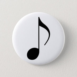 black musical-note pinback button