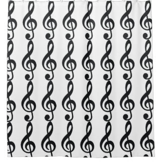 Black Musical Note Shower Curtain