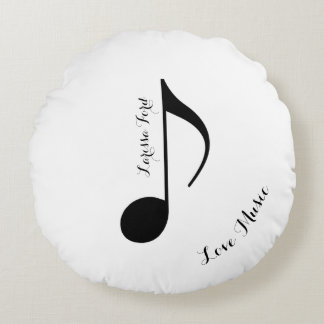 black musical-note with custom name round pillow