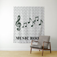 Black Musical Notes Design Wall Tapestry