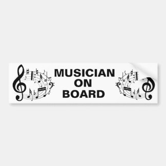 Black musical notes in oval shape bumper sticker