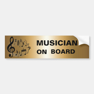 Black musical notes in oval shape ON GOLD Car Bumper Sticker